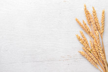 Wheat On A Wooden Background. ...