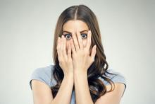 Close Up Face Woman Portrait With Fear Emotion.
