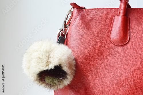 Photo Woman fur pompon keychain