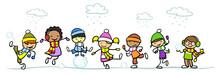 Gruppe Kinder Beim Spielen Im Winter
