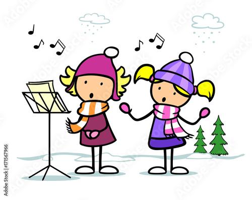 Weihnachtslieder Zum Singen.Cartoon Mädchen Singen Weihnachtslieder Buy This Stock