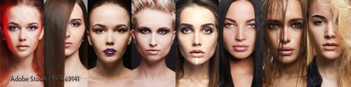 Fotografía  Beauty collage.Makeup beautiful girls