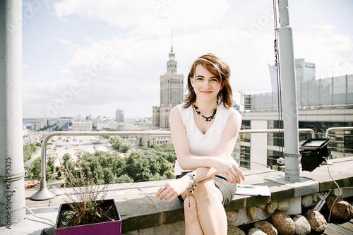 Fototapeta Business woman in the city. obraz