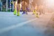 Legs of people on marathon running. Run for health.