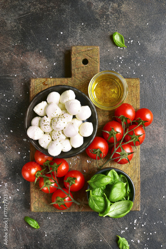 Ingredients  for making traditional italian salad caprese.Top view with copy space.
