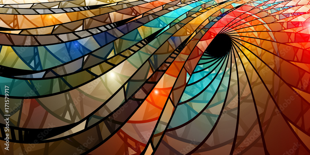 Photo  Colorful stained glass spiral