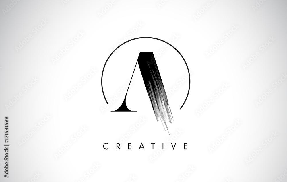 Fototapety, obrazy: A Brush Stroke Letter Logo Design. Black Paint Logo Leters Icon.