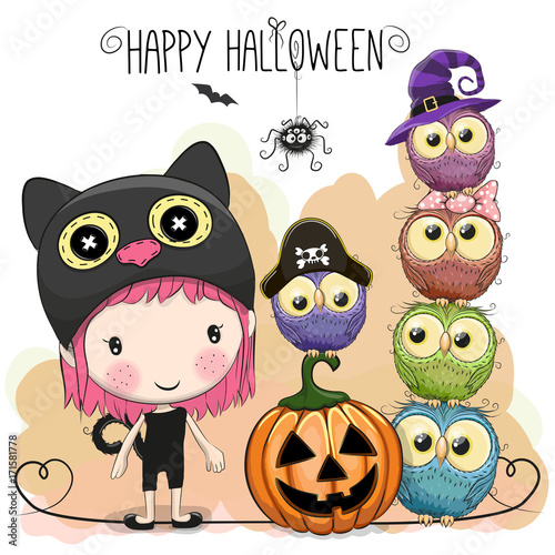 Canvas Prints Halloween card with girl and owls