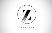 Z Brush Stroke Letter Logo Design. Black Paint Logo Leters Icon.