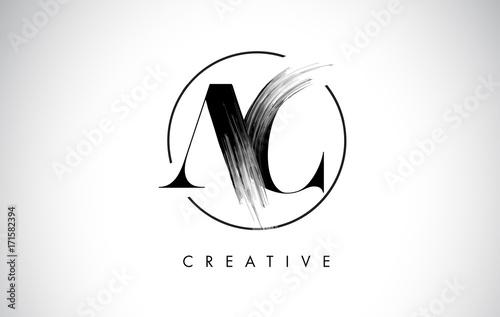 Photo AC Brush Stroke Letter Logo Design. Black Paint Logo Leters Icon.