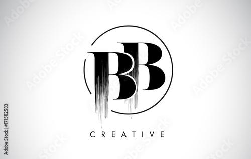 BB Brush Stroke Letter Logo Design. Black Paint Logo Leters Icon. Wallpaper Mural