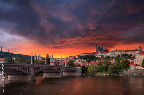 Fotografie, Obraz  Storm coming to Prague, Czech Republic