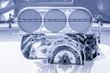 Leinwandbild Motiv blue toned vehicle engine supercharger HDR