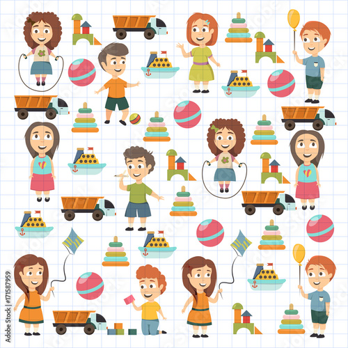 Fotobehang Kids Kindergarten Vector flat icons for advertising brochure. Ready for your designs. Children play. Kindergarten kids with toys. Funny cartoon character. Vector illustration