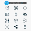Learning Icons Set. Collection Of Branching Program, Recurring Program, Radio Waves And Other Elements. Also Includes Symbols Such As Microprocessor, Conditional, Toy.