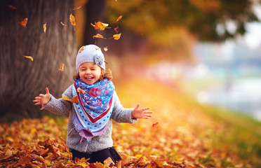 Fototapeta adorable happy girl playing with fallen leaves in autumn park