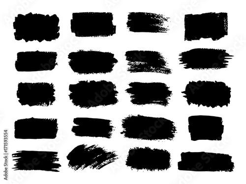 Tuinposter Vormen Vector black paint, ink brush stroke, brush, line or texture. Dirty artistic design element, box, frame or background for text. .