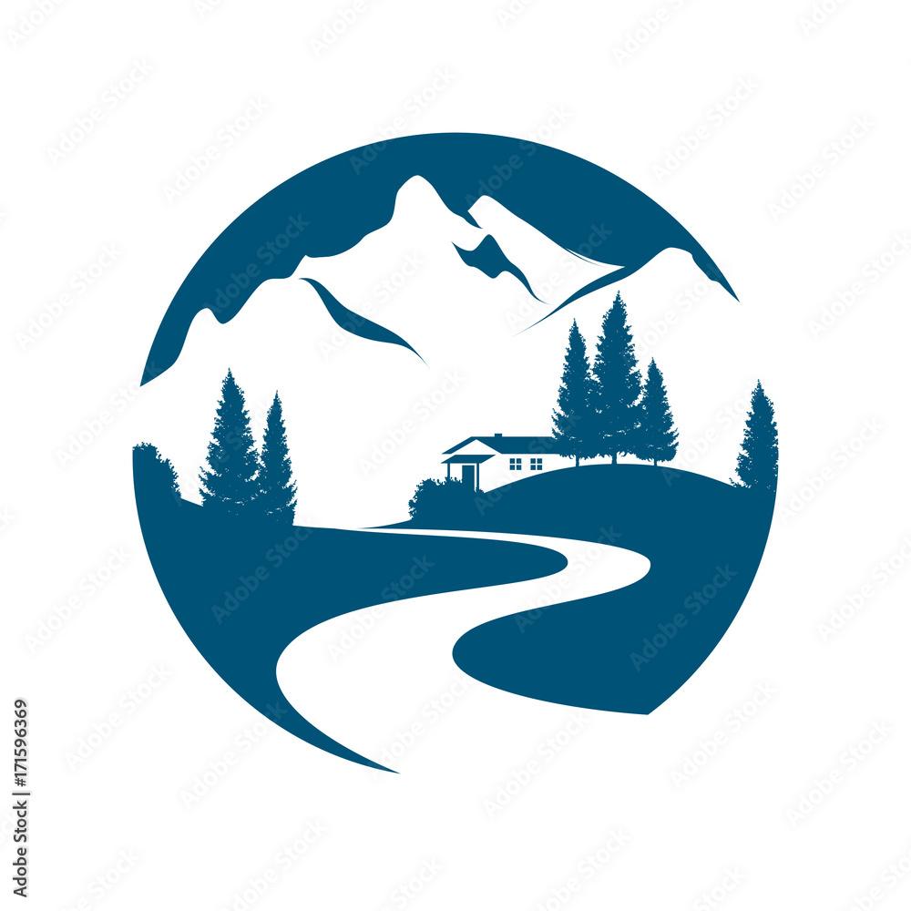 Fototapeta Vektor Piktogramm einer Berglandschaft mit Bach oder Straße