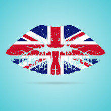 United Kingdom Flag Lipstick On The Lips Isolated On A White Background. Vector Illustration. Kiss Mark In Official Colors And Proportions. Independence Day