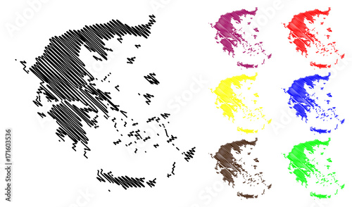 Greece map vector illustration, scribble sketch Greece map ...