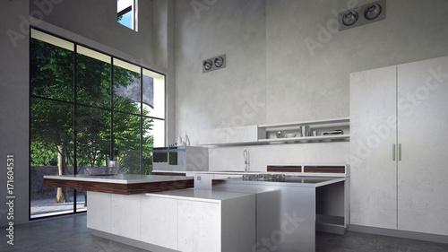 Moderne Küche Mit Kücheninsel In Beton Loft