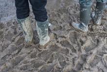 People Walk Through Mud At A Music Festival