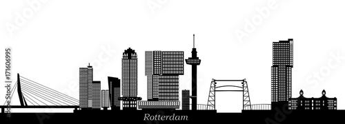 Staande foto Rotterdam rotterdam skyline with hotel, landmarks erasmusbridge and modern architecture