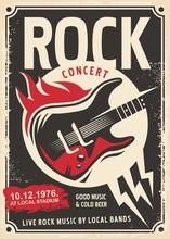 Rock Music Retro Poster Design...
