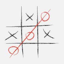 Tic Tac Toe. XO Game. Drawn In Chalk. Vector Illustration.