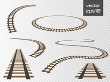 Vector Rails Set. Railways On White Background. Railroad Tracks.