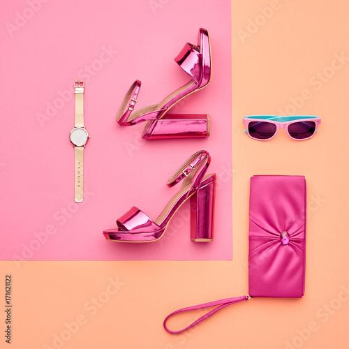 Fashion Accessories Set. Minimal. Glamor fashion Metallic Pink shoes Heels. Trendy Sunglasses fashionable Handbag Clutch. Luxury Shiny Party lady. Pastel Art Colorful Style. Wall mural