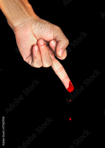 Middle Finger Human Hand With Blood Show Middle Finger On Black