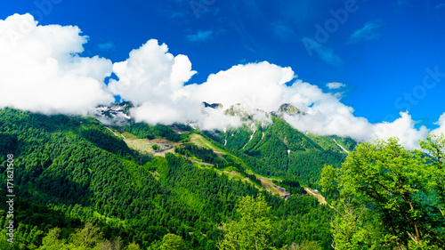 Poster Green Caucasus mountains. mountain landscape