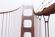 Details Of The Golden Gate Bridge, A Painted Red Suspension Bridge Spanning The Golden Gate Strait, The Channel Between San Francisco Bay And The Pacific Ocean