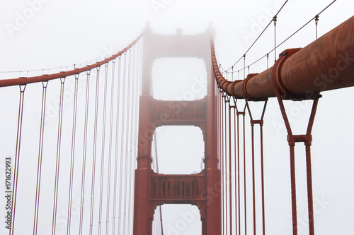 Details Of The Golden Gate Bridge A Painted Red Suspension Spanning Strait Channel Between San Francisco Bay And Pacific
