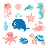 Fototapeta Fototapety na ścianę do pokoju dziecięcego - Ocean set with cartoon sea animals for baby shower scrapbooking and birthday designs
