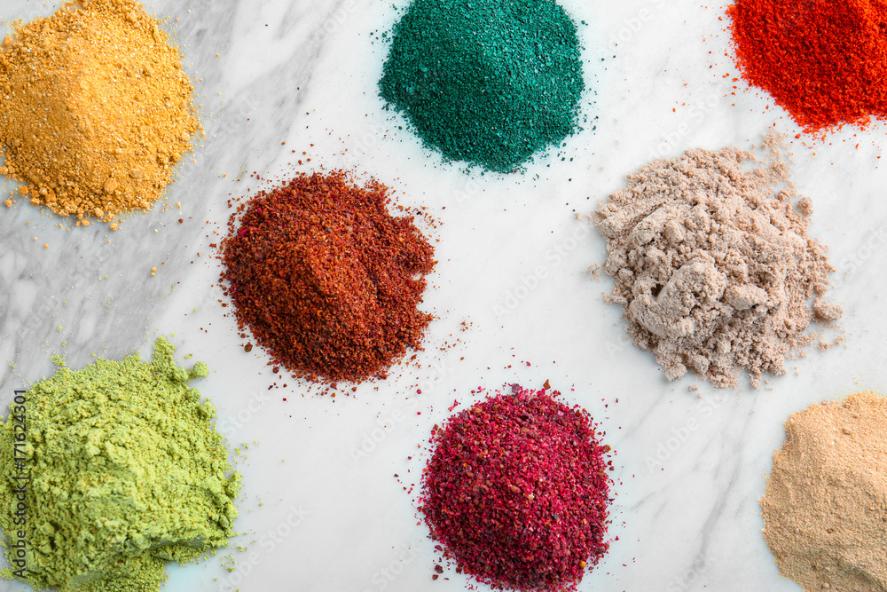Fototapety, obrazy: Various colorful superfood powders on light background