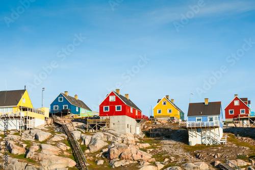 Deurstickers Poolcirkel Colorful houses in Ilulissat, western Greenland