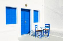 White-blue Architecture On Santorini Island, Greece.