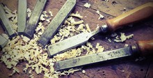 Sharp Chisels With Sawdust And Vintage Effect