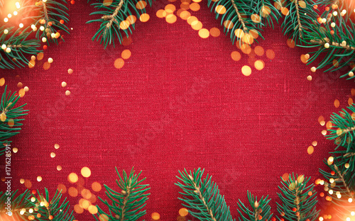 Holiday Christmas Background.Christmas Background With Xmas Tree And Sparkle Bokeh Lights