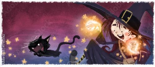 Slika na platnu niña bruja con gato en halloween