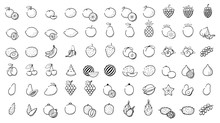 Outline Linear Web Icon Set - Fruit And Berries Thin Line Icons For Business, Leisure. Orange, Banana, Strawberry,grape,cherry, Mango Papaya, Pear, Kiwi, Lemon And Other Various