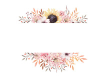 Set Of Watercolor Boho Floral Bouquets. Watercolour Bohemian Natural Frame: Leaves, Feathers, Flowers, Isolated On White Background. Artistic Autumn Decoration Illustration.