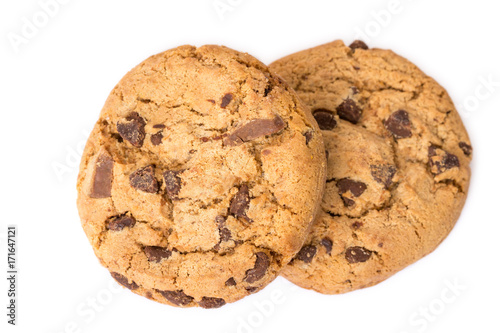 Tuinposter Koekjes Two chocolate chip cookies isolated on white background.