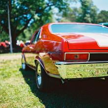 Rearview Of An American Vintage Car