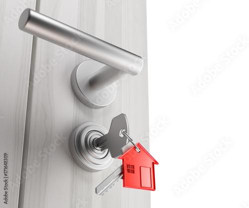 Fényképezés Porta di casa con chiavi e portachiavi inserite