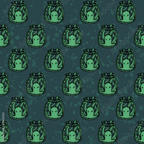 Fotografie, Obraz  Vector hand drawn seamless pattern with green octopuses in the bottles on the textured backgeound