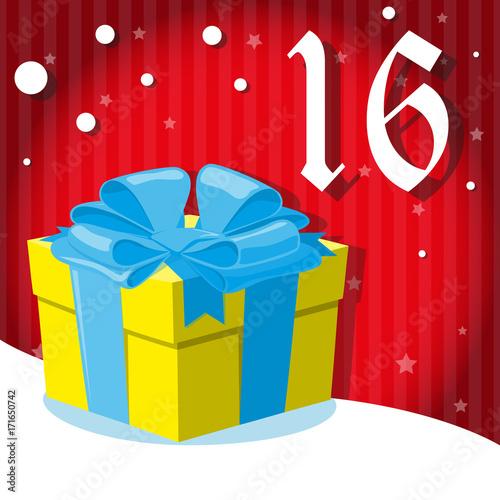 christmas advent holiday calendar banner big gift box with bowl