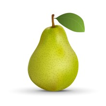 Realistic Pear Isolated On Whi...